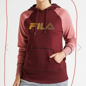 Maroon and gold FILA logo hoodie